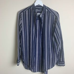 Madewell Button Down Stripped Top Navy Blue Small